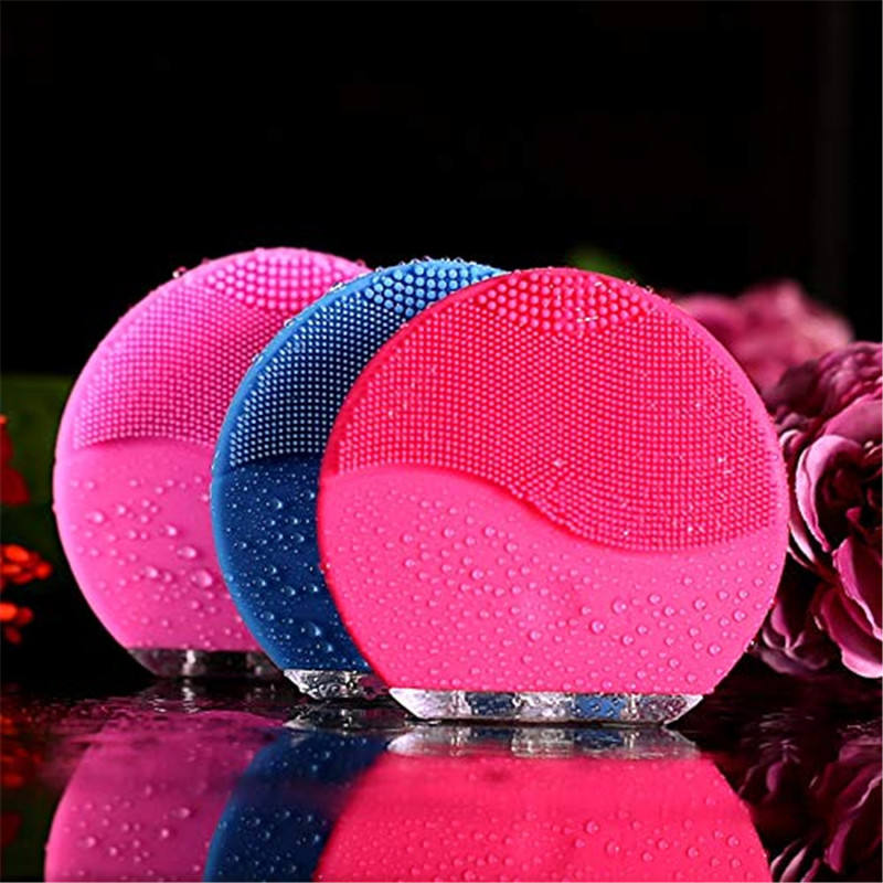 3 color Skin care Mini electric facial cleaning massage brush sonic face washing machine waterproof silicone face cleanser
