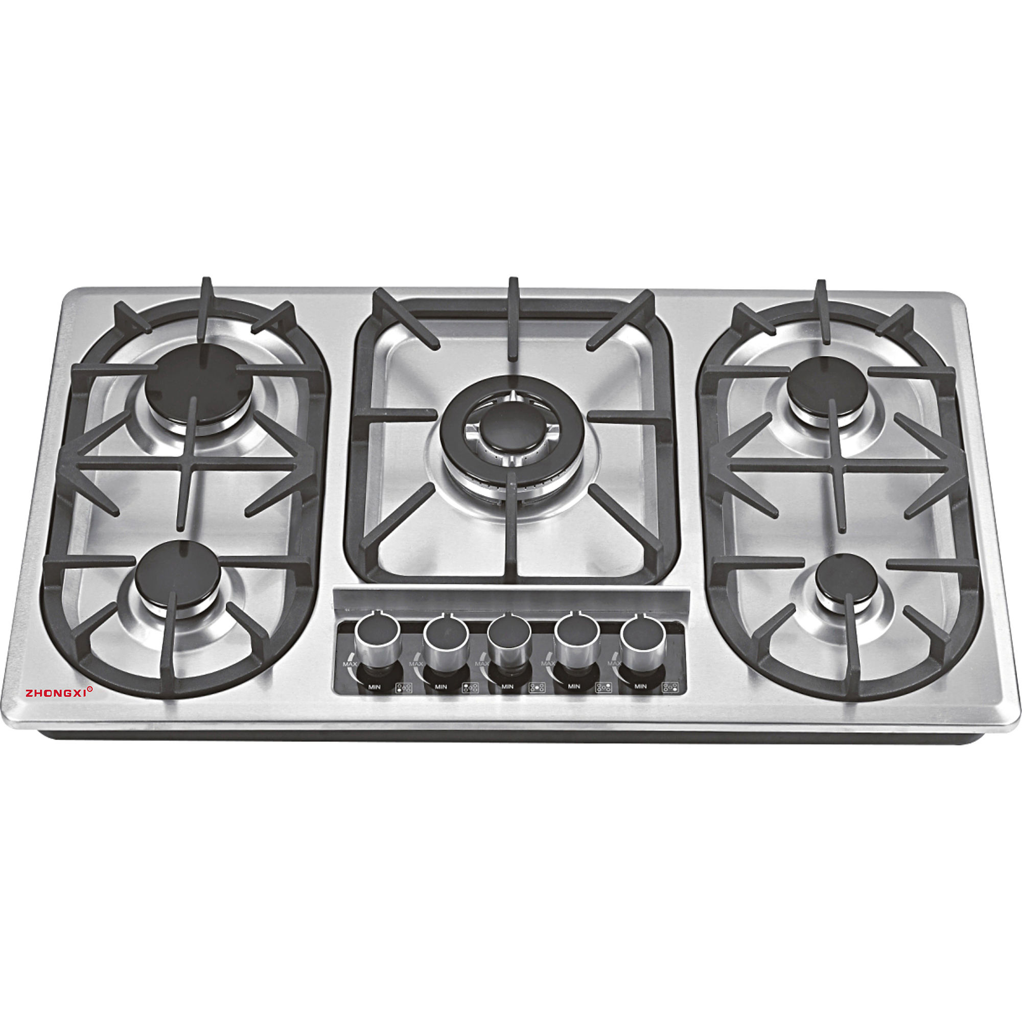 Stainless steel panel built in sabaf 5 burners LPG gas cooker stove