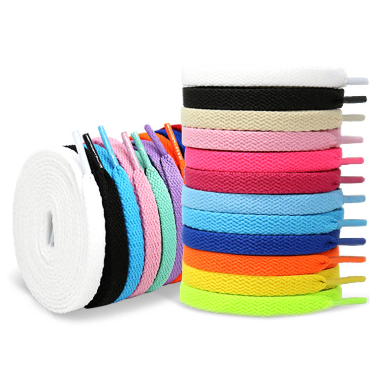 Customizable 8mm Flat Polyester Shoelace Factory, 57 Colors Replacement Shoe Laces String With Plastic Tips