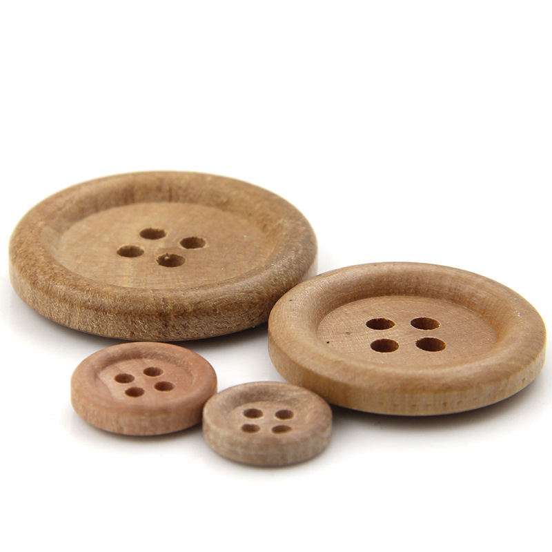 11.5-30mm DIY Garment Accessories 4 Holes Round Shirt Sweater Natural Wood Buttons