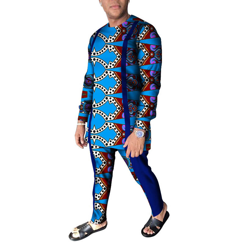 wyn1026 Fashion Men African Clothes Long Sleeve Shirt and African Print Shirt Men Suits
