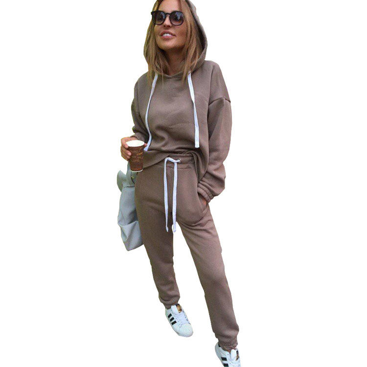 Fashion long sleeve 2 pieces womens tracksuit set hooded sweat suits