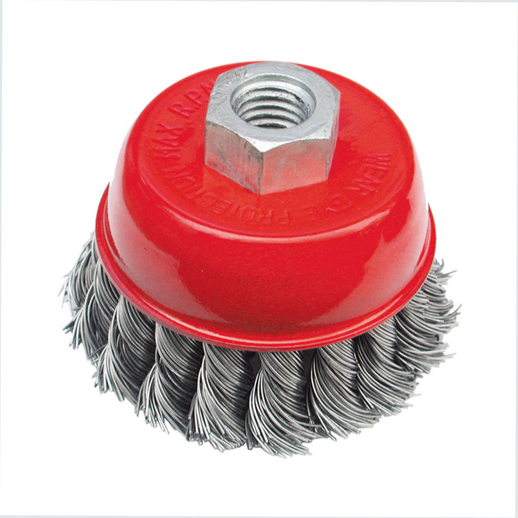 China cup wire brush knotted with tempered steel wire for angle grinders
