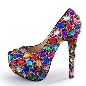 Luxury Sexy Bling Crystal Nightclub Shoe Rhinestone Red Bottom Woman Platform Heels Pump Large Size 42 43