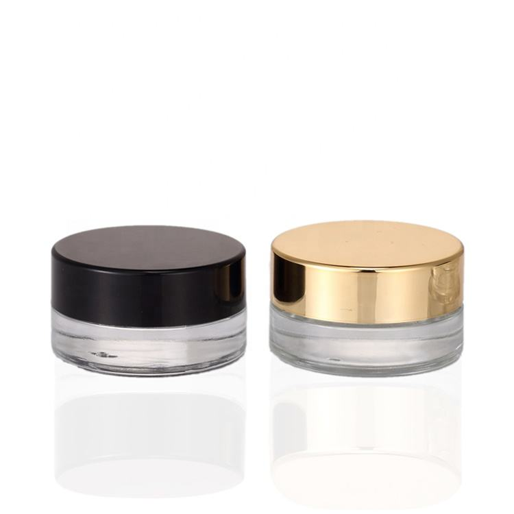 Wholesale canada 3g 5g 10g small clear round cosmetic eye cream concentrate glass jars with metal lid