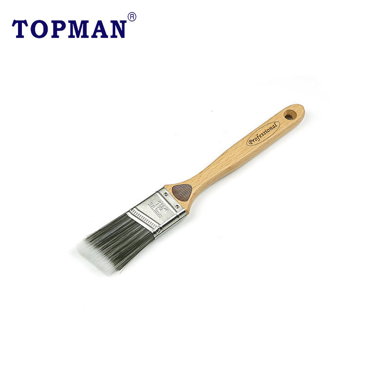 Topman 1.5 inch professional 100% high quality SRT filament laser engraved beech wood handle angle paint brush