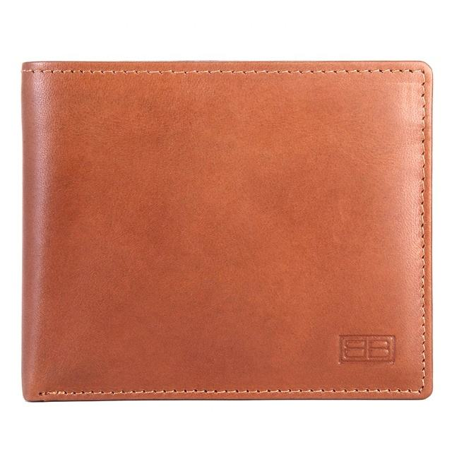 Wholesale Premium Quality Genuine Leather Two Fold Wallet Premium Top Grain For Men With Removable ID Windows Tan Handmade
