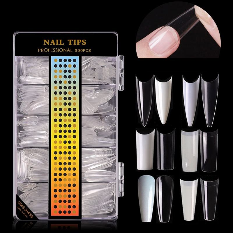 Misscheering 500 pcs nail art Ultra-thin seamless tips C-arc non-engraving matte nail extension tips frosted nail tips