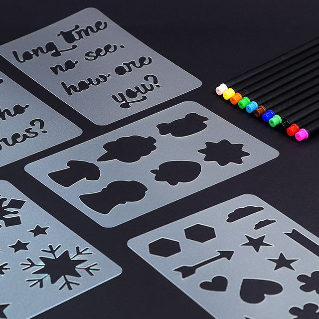 Decorative mylar drawing plastic PP stencil for paper screen scrapbook crafts
