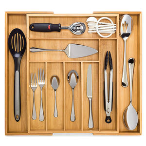 8 compartments Bamboo Silverware Drawer Wood Storage Organizer, Expandable Cutlery Tray with 2 Removable Knife Blocks