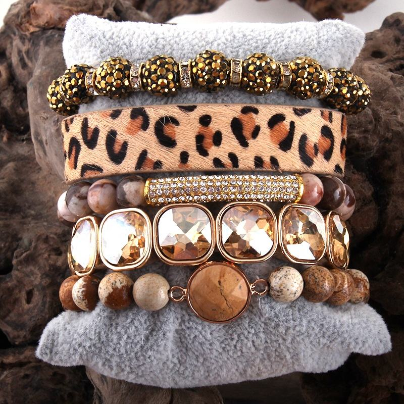Fashion leopard Leather Bracelet Set 5pc Handmade Natural Stone Female Femme Bracelets Sets