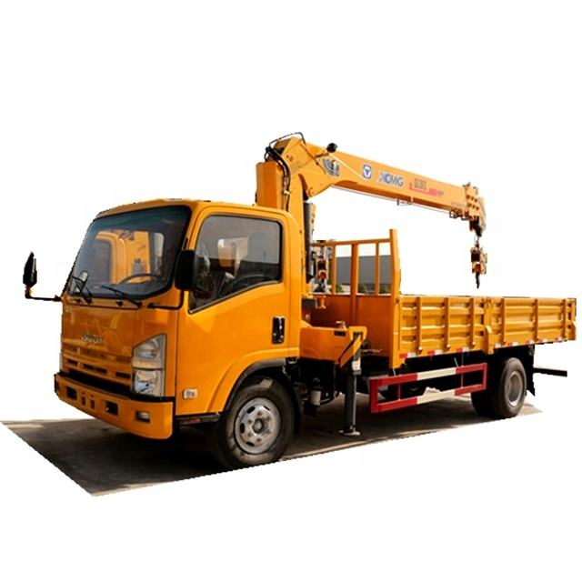isuzu 700p 4 Section Arms log Crane 4tons truck Mounted Crane Telescoping Boom Crane for Sale