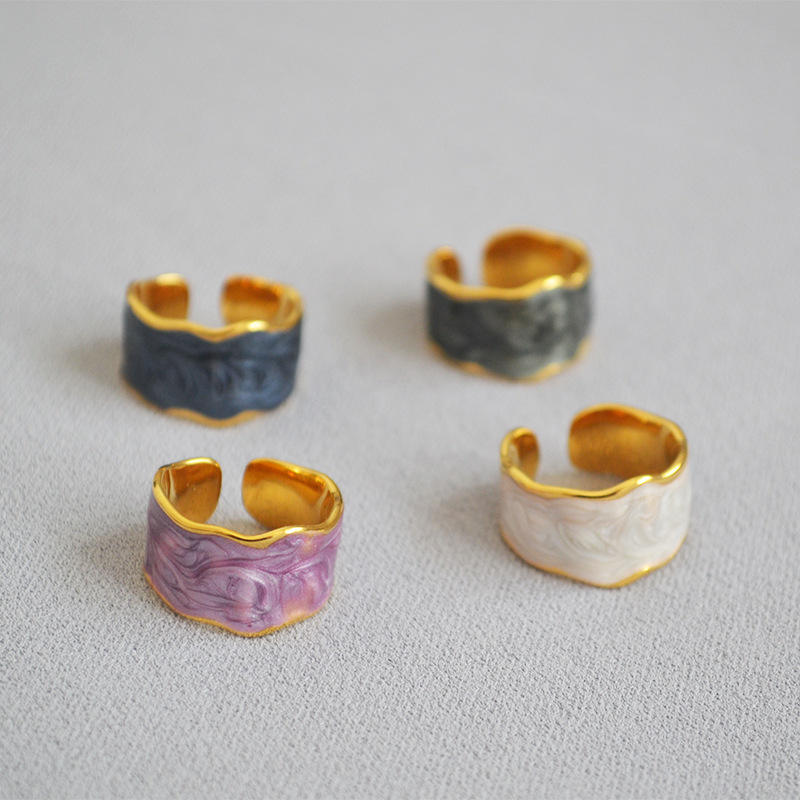 Factory direct sales handmade enamel glazed irregular opening ring modern fashion color ring