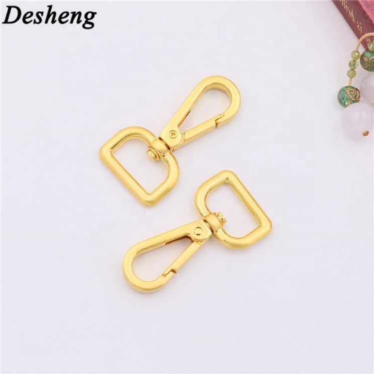 New zinc alloy yellow gold bag dog swivel hook for leather bag metal accessories dog leash clip