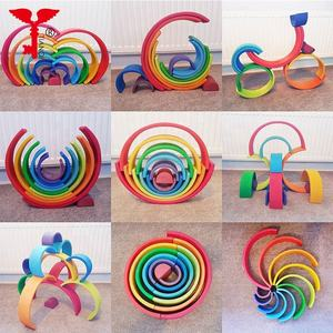 24PCS Creative Wood Building Stacking Blocks wooden rainbow montessori Rainbow Stacking Blocks