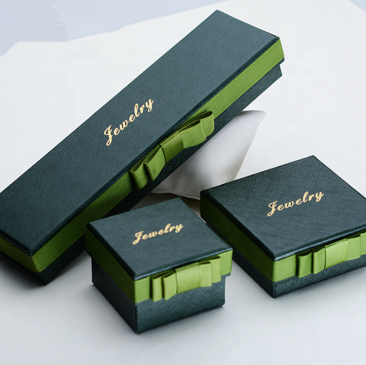 custom special texture paper box for jewelry packaging with row ribbon