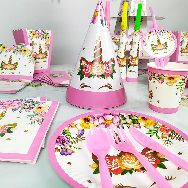 unicorn Party Disposable tableware Plate Cup For baby shower Wedding Happy birthday Decoration supplies home Kids