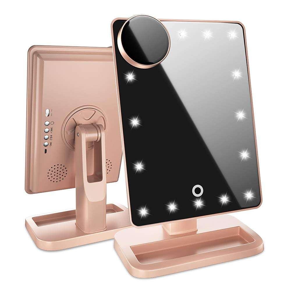 Luzes LED Vanity Espelho de <span class=keywords><strong>Mesa</strong></span> de Maquiagem <span class=keywords><strong>portátil</strong></span> <span class=keywords><strong>Inteligente</strong></span> Com Bluetooth Speaker