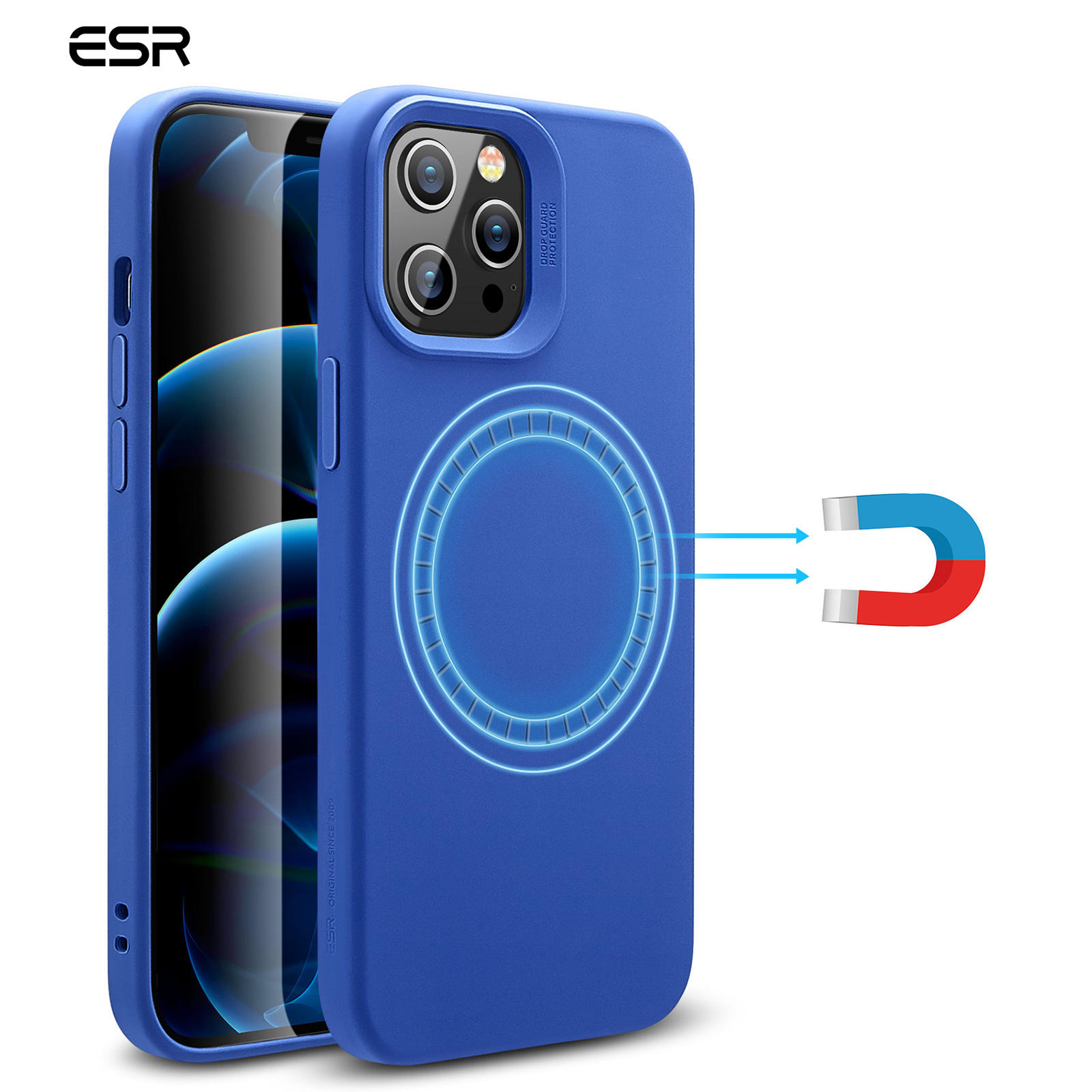 ESR Supports MagSafe/Wireless Charging Silicone Case For iPhone 12 mini with HaloLock Magnetic Ring