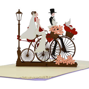 Myway Custom Design Laser Cut 3D pop-up Wedding Invitation Card,Greeting Card with Envelope