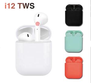 Amazon Hot Selling Touch key earphone mini sport i12 tws 5.0 bluetooths wireless earbuds i12 tws 2019