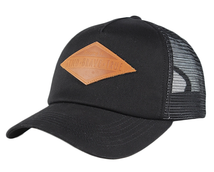 Top Quality OEM Logo Leather Patch Trucker Hat Custom