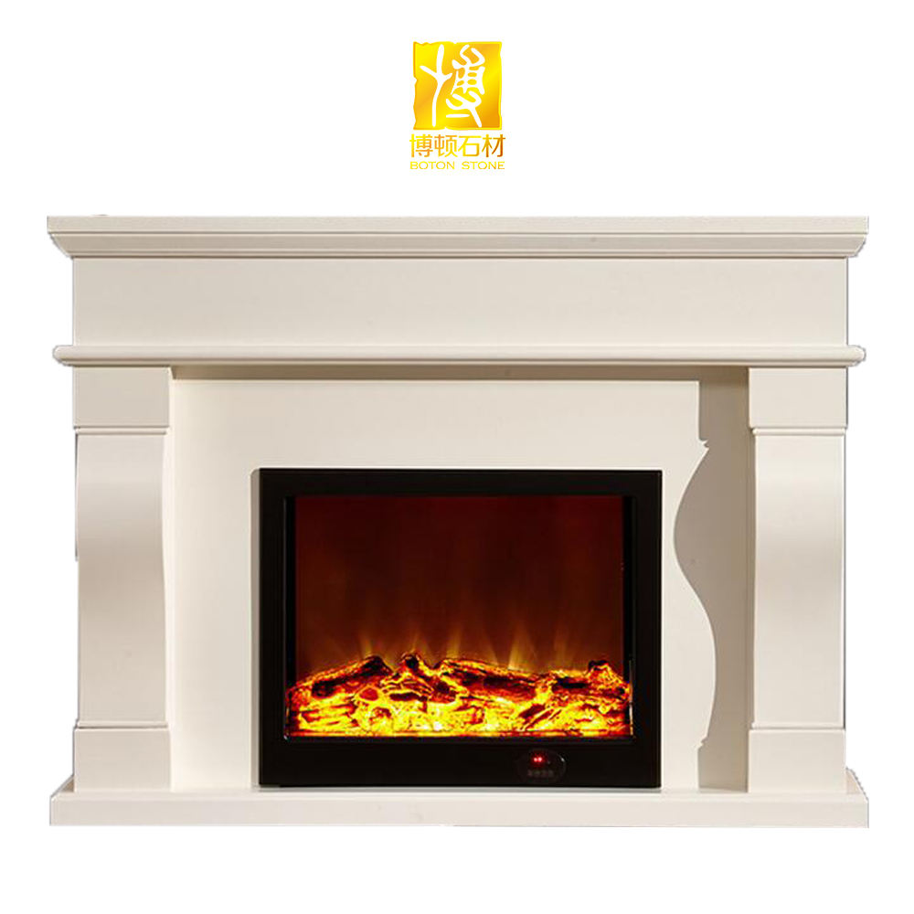 Popular stone marble electric fireplace for house