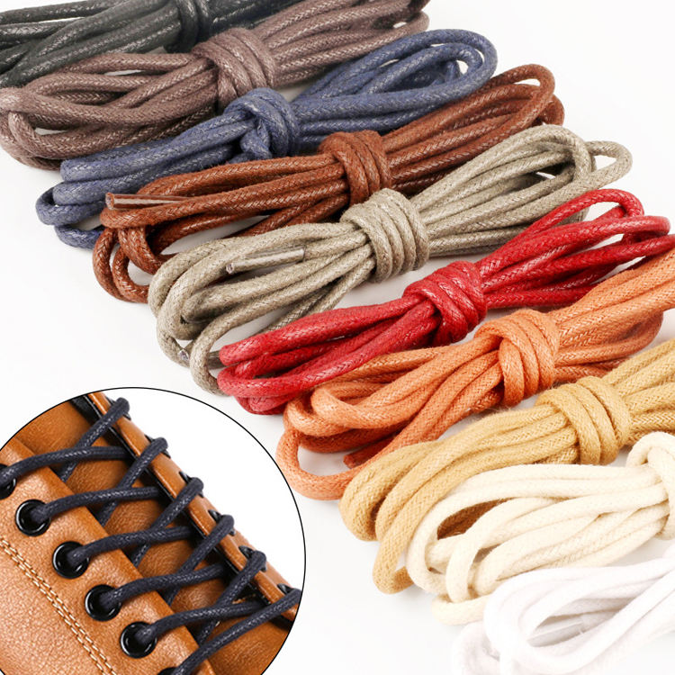 Pair 3mm Waxed Shoe Laces Round Thin Dress Brogues Shoelaces Foot Rope 70cm
