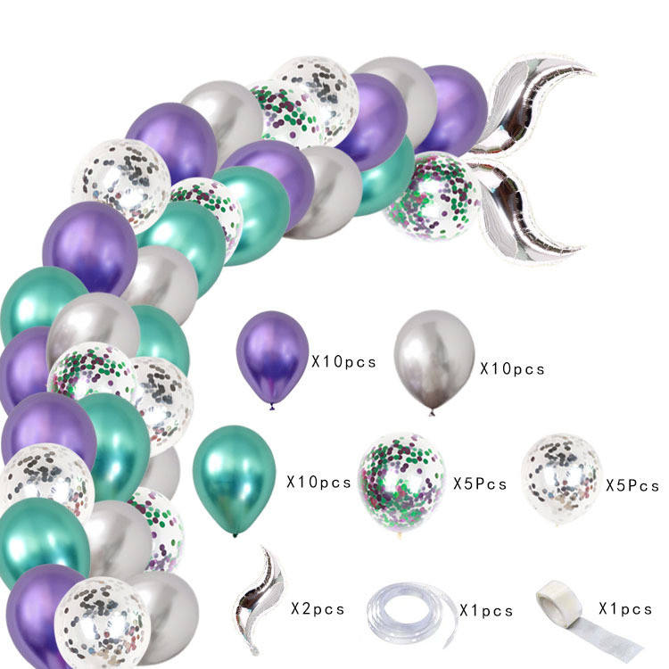 Mermaid tail balloon chain set party decoration wedding supplies venue Fishtail balloon arch latex round balloon
