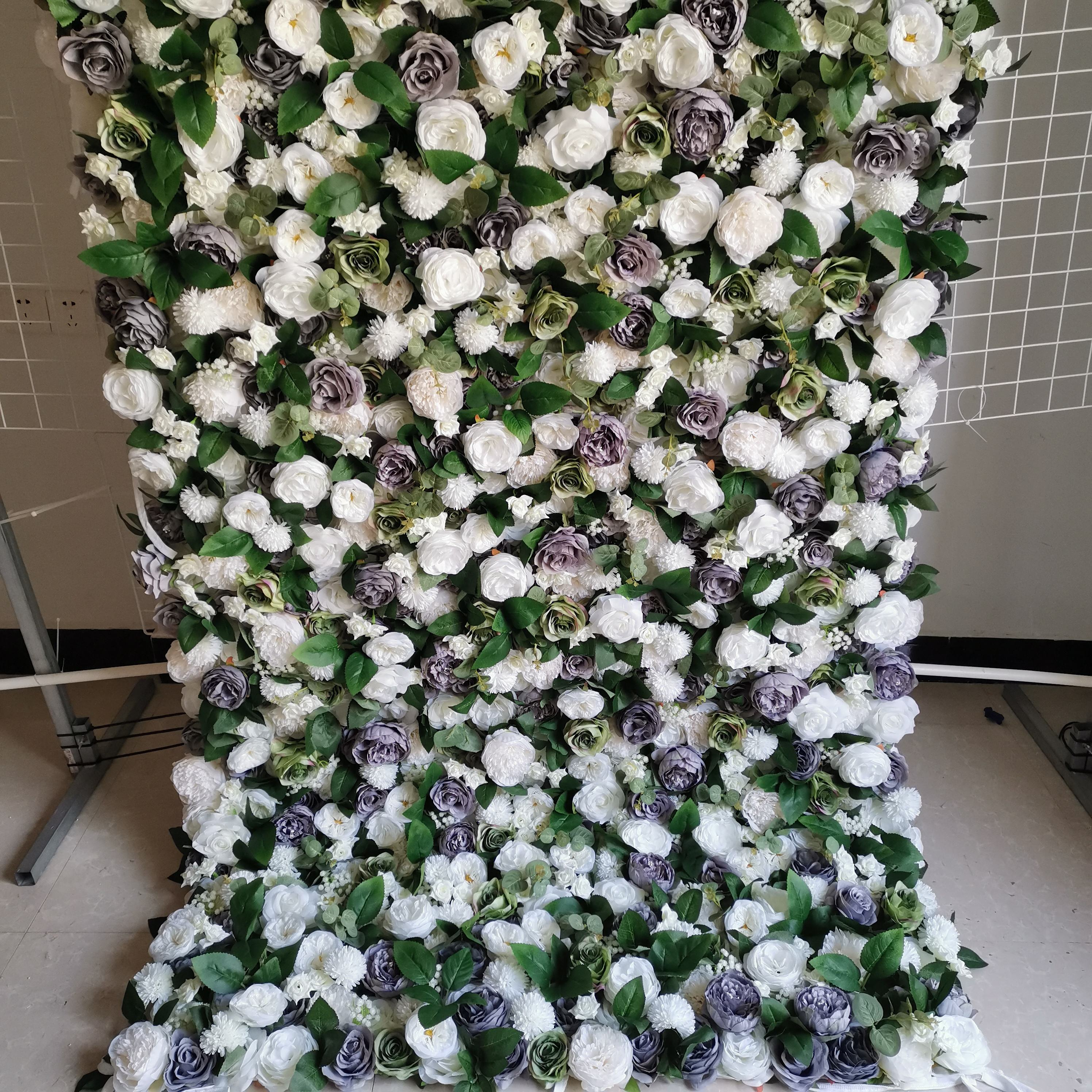 SPR 1.2*2.4M(4*8ft)/pc Wedding party backdrop decoration baby foliage gray green wall silk flowers artificial rose