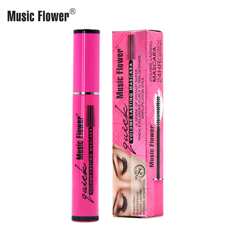 Music Flower Waterproof Thick Lengthening Natural Extreme Curl Eye Lashes Women Cosmetic New 3D Volume Lasting Bulk Gel Mascara