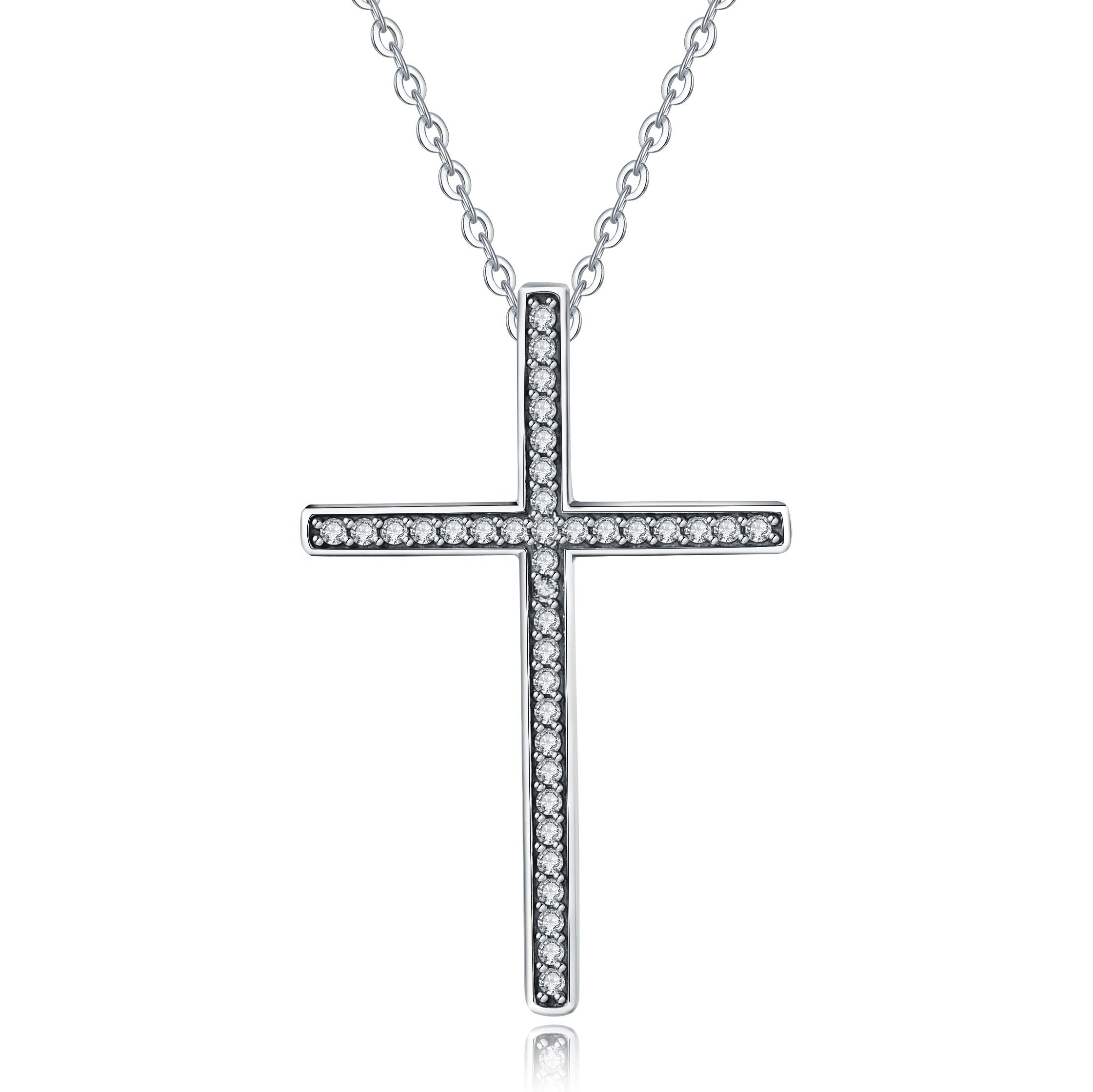 925 argent sterling bling simple <span class=keywords><strong>jérusalem</strong></span> zircon croix pendentif collier