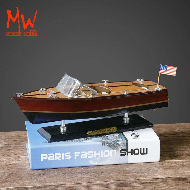 wooden chris craft Speedboat model Promotional gift maritime Decoration 14''