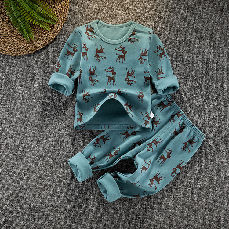 Wholesale children's pajamas boys girls printed top and sleeping suit sets