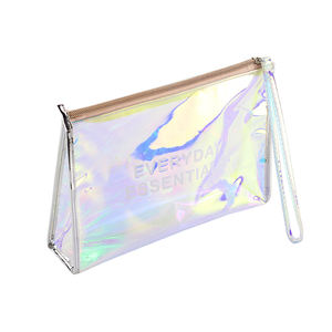 Wholesale holographic clear PVC colorful makeup bag