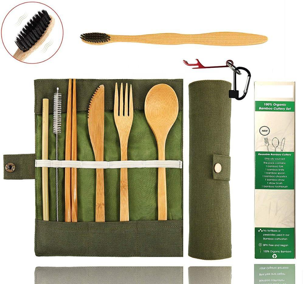 Bamboo Utensils Eco Friendly Flatware Set Bamboo Cutlery bag Set Bamboo Travel Utensils Camping Set Portable