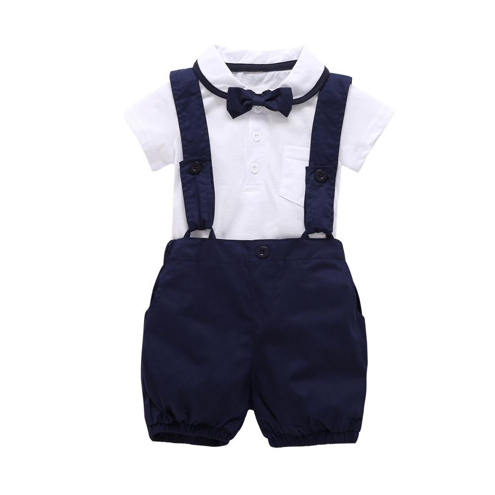 Hot sale gentleman bow tie shirt and suspender trousers toddlers clothing sets boys' boutique outfits baby boys' clothing sets