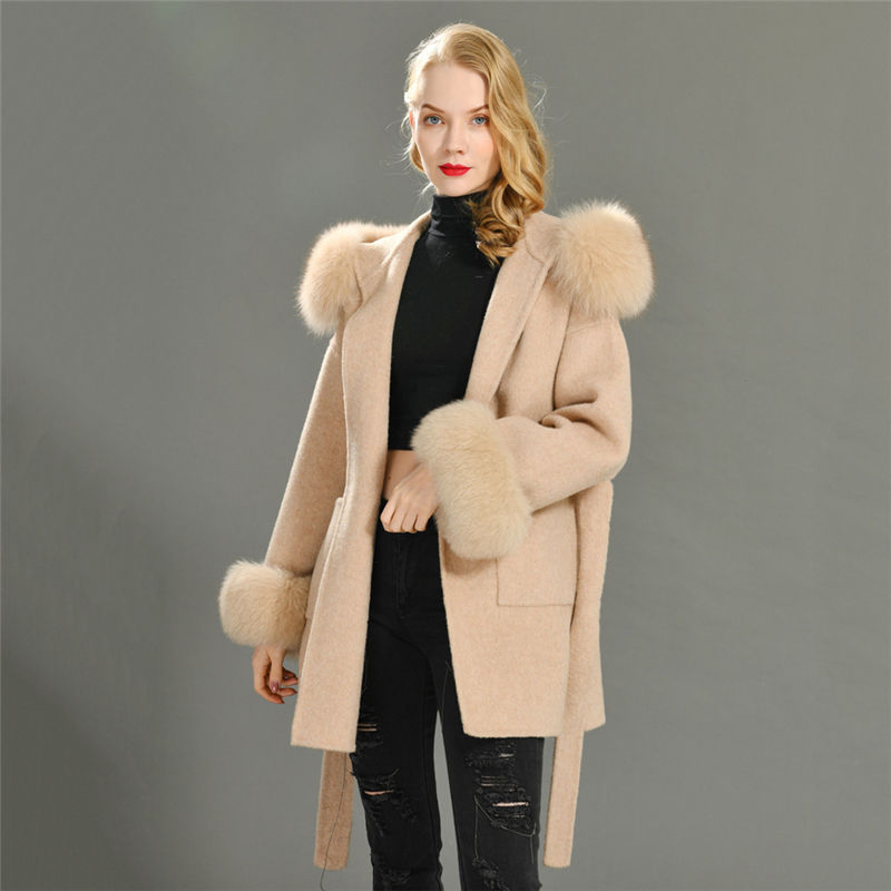 New Design Loose Size Female Winter Real Fox Fur Collar Cuffs Cashmere Coats Wholesale Women Hooded Plus Wool Coat