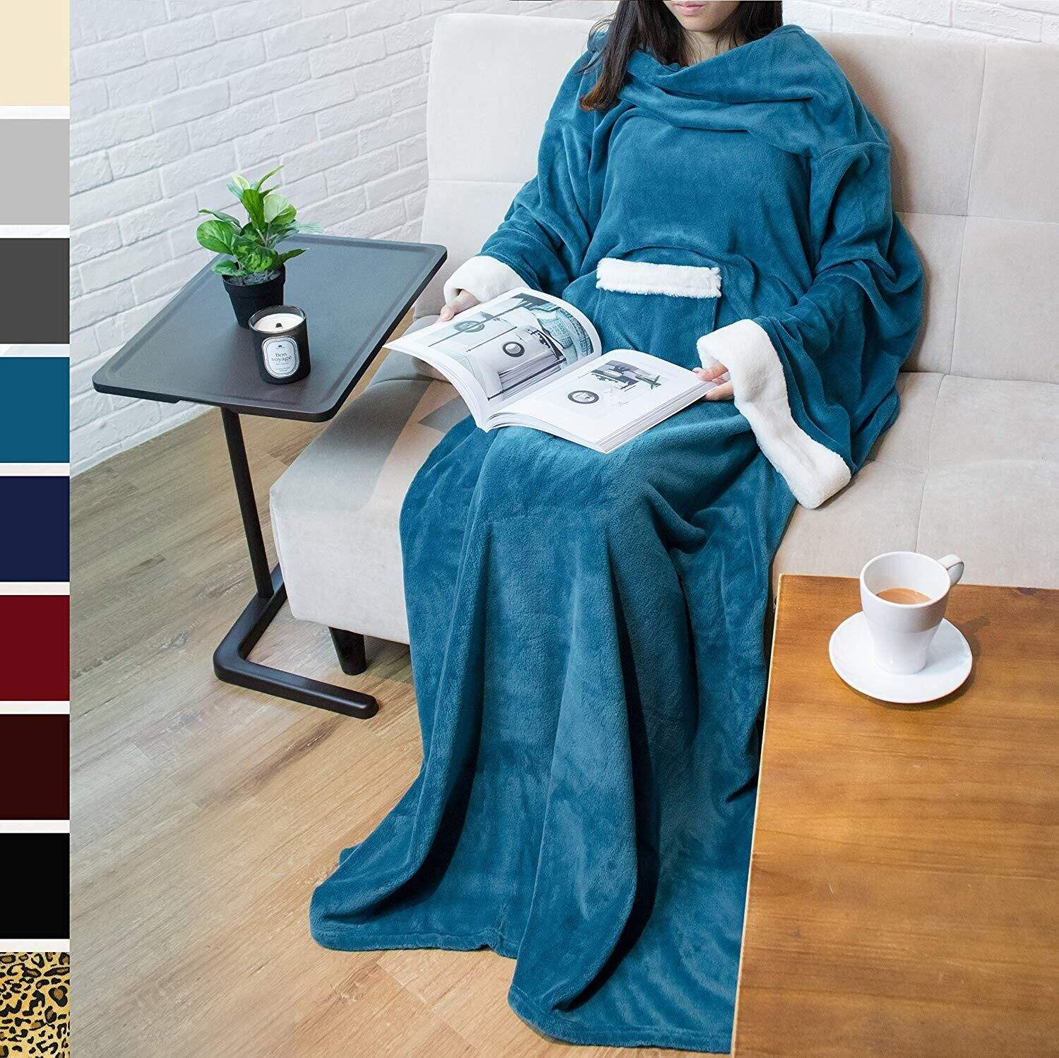 Wearable Blanket with Sleeves Arms Super Soft Warm Comfy Large Fleece Plush Sleeved TV Throws Wrap Robe Blanket for Adult Women