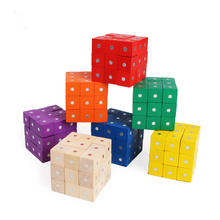 Wooden magnetic square building blocks teaching equipment for children early education intelligence development toys