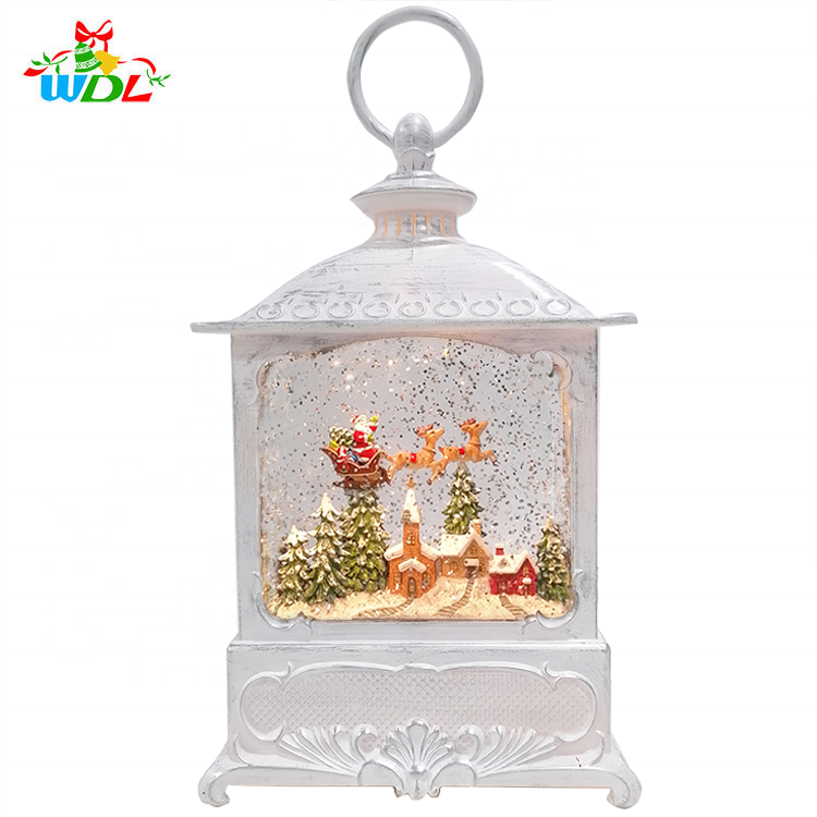 Indoor Christmas Gift Ornament Music Timer Function Accepted Led White Flying Santa over Village Spinning Lantern Snow Globe