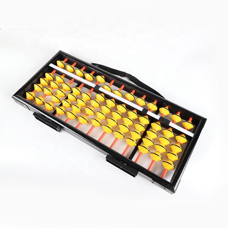 The large wooden black and yellow math teacher abacus