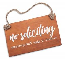 Factory custom wood hanging door signs no soliciting signs with rope hanger