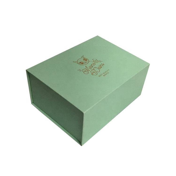Personalized Custom Light Green Foldable Packing Gift Box For Shirt Garment