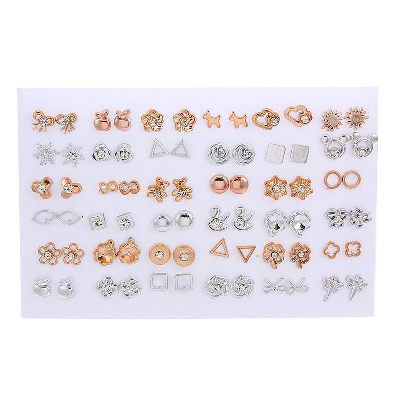 36 pairs of stylish gold and silver white diamond bow apple circle geometric plastic lady stud earrings