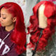 Long [ Red Wig Wigs ] Brazilian Cosplay Fire Red Curly Human Hair Wig Color Red Wine Body Wave Hair Lace Front Wigs