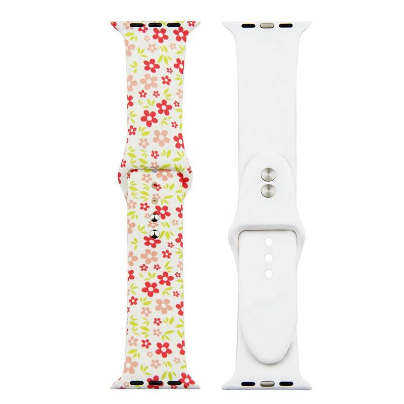Flower Printed Replacement Wristbands Strap For Apple Watch Series 5 4 3 Band Silicone