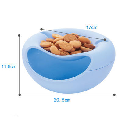 Modern Living Room Creative Shape Lazy Snack Bowl Plastic Bowl Double Layers Snack Storage Box Bowl Lazy Fruit Melon Seeds Plate