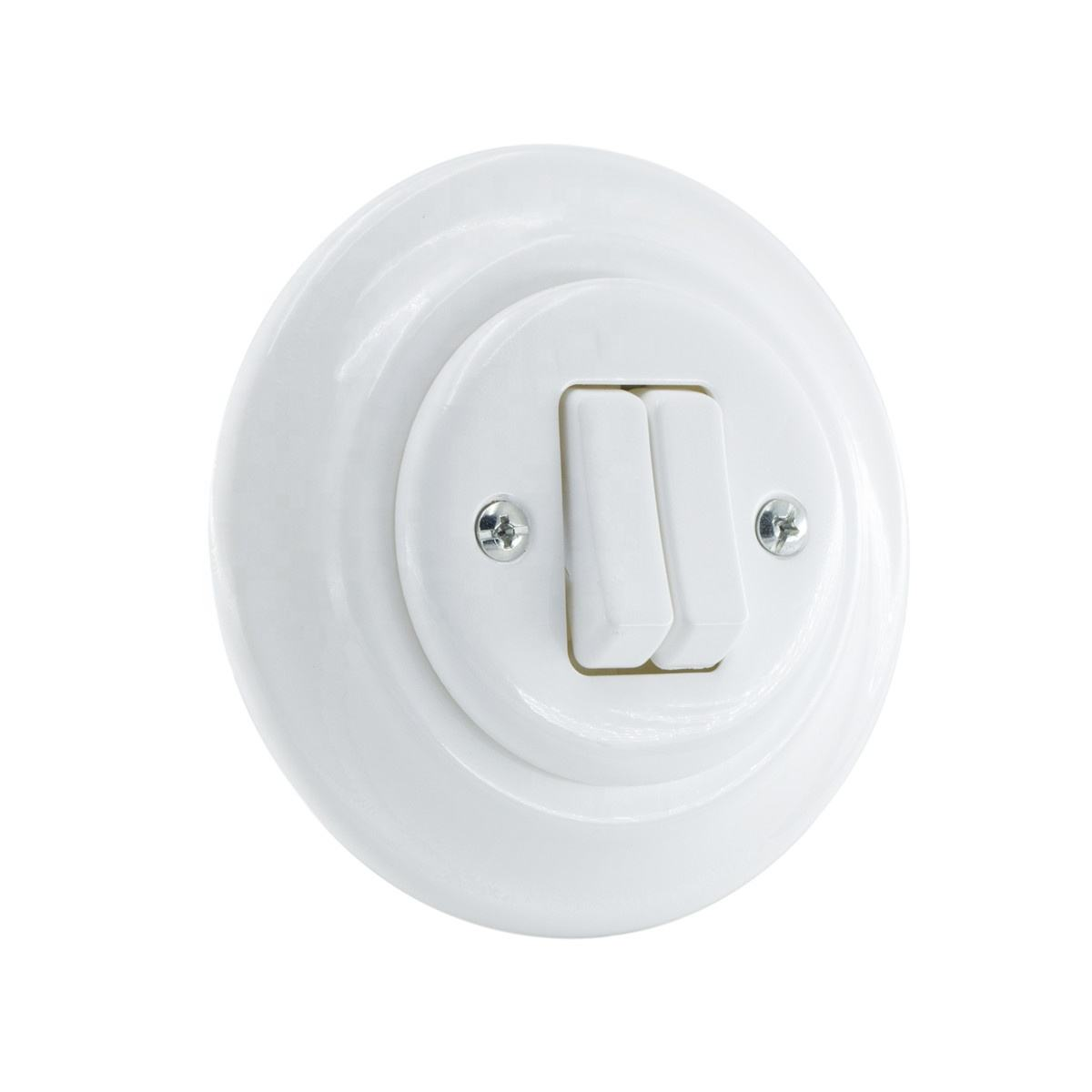 2 keys porcelain button switch,flush mounted porcelain rocker switch,retro light switch and wall socket