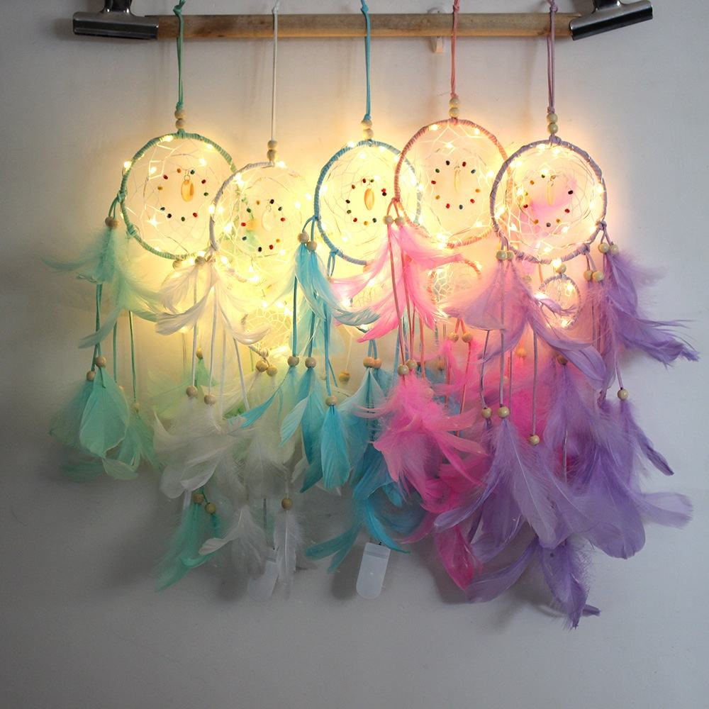 11cm With LED Factory New Design Handmade Dream Catcher Pink Feather Dream Catcher With light For Sale
